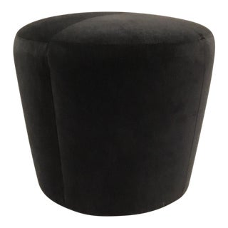 Thomasville Dark Gray Velvet Gia Ottoman For Sale