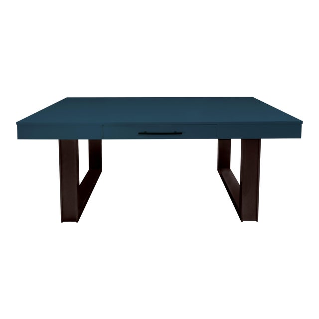 Mid-Century Modern Luxury Desk for Home Office From Garden Street in Indigo and Stain For Sale