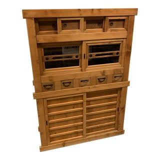 Antique Japanese Wood Cabinet For Sale
