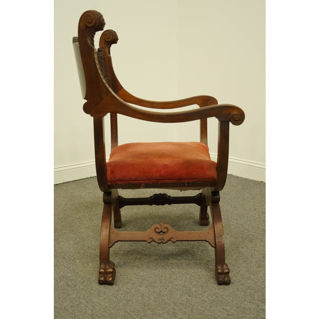 1920's Antique Jacobean Gothic Revival Carved Accent Arm Chair For Sale - Image 9 of 10