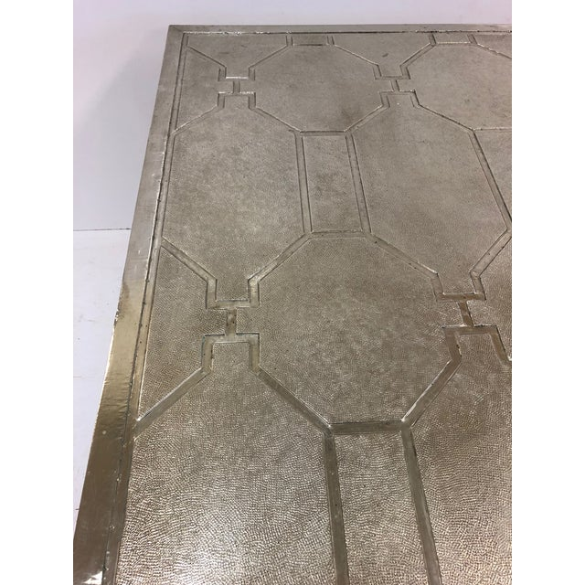 1970s Modern Silver Clad Coffee Table For Sale - Image 4 of 7