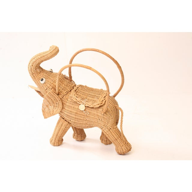 Vintage Wicker Figural Elephant Purse - Image 3 of 11