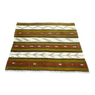1960s Traditional Scandinavian Flatweave Green Ethnic Cappadocia Kilim Rug For Sale