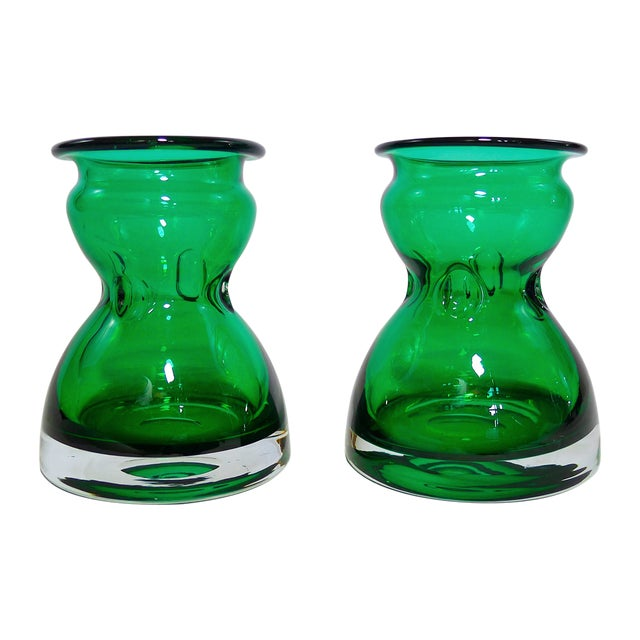 Vintage Emerald Green Vases - A Pair For Sale
