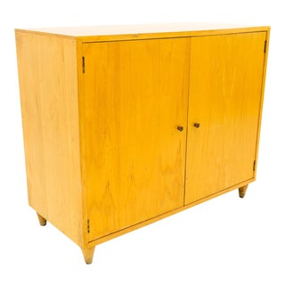 Mid Century Modern Small Blonde Credenza Media Cabinet For Sale