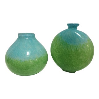 Modern Handblown Two-Toned Blue and Green Glass Vases - a Pair