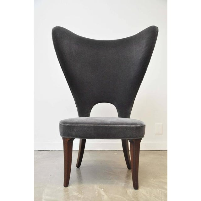 Very rare design by Edward Wormley for Dunbar. Oversized proportions. Fully restored and reupholstered in charcoal mohair.