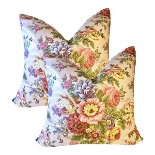 "24"" Vintage Cottage Waverly Chintz Pillows - a Pair For Sale"