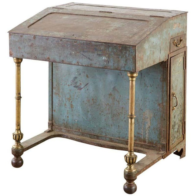 19th Century English Iron Bronze Industrial Davenport Desk For Sale - Image 13 of 13