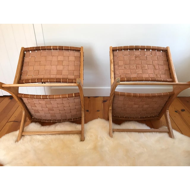 Leather Woven Leather Lounge Chair For Sale - Image 7 of 8