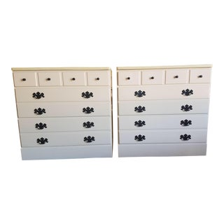 Maple Refinished Ivory Dressers or Commode Chest or End Tables - a Pair