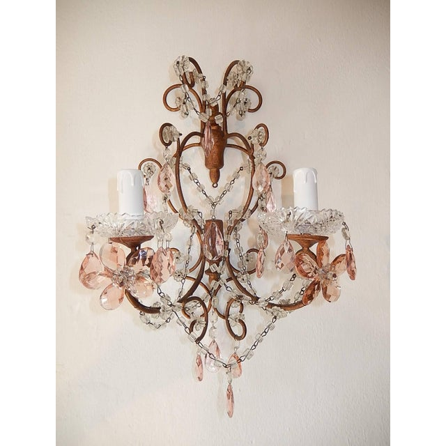 French French Maison Baguès Style Pink Floral Crystal Sconces, circa 1920 For Sale - Image 3 of 11