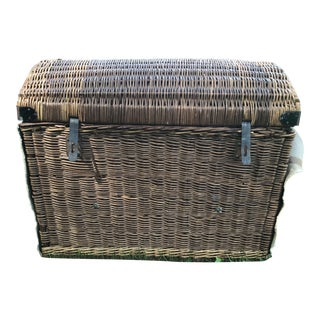 20th Century Rustic French Wicker and Canvas Military Trunk For Sale