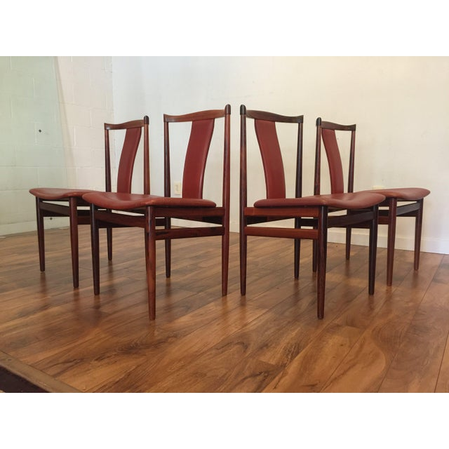 Henning Sorensen Rosewood & Leather Dining Chairs - Set of 4 For Sale - Image 4 of 11
