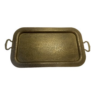 Mid 20th Century Vintage Embossed Brass Tray W Handles For Sale
