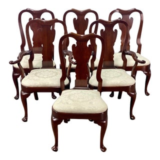 Vintage Statton Furniture Old Towne Cherry Dining Chairs - Set of 6 For Sale