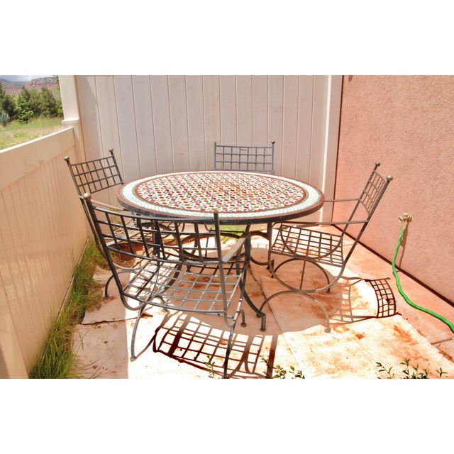 """Green Moroccan Zellij Red, Green, Yellow and White Mosaic Tile 52"""" Round Table & 4 Wrought Iron Arm Chairs For Sale - Image 8 of 13"""