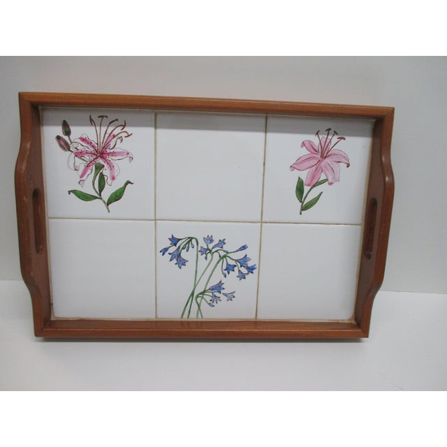 Wood Vintage Country Breakfast Serving Tray in Wood and Hand Painted Ceramic Tiles For Sale - Image 7 of 7