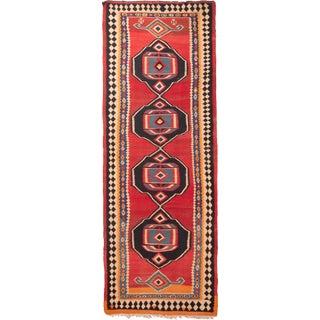Vintage Mid-Century Geometric Wool Kilim Runner Rug - 4′4″ × 12′ For Sale