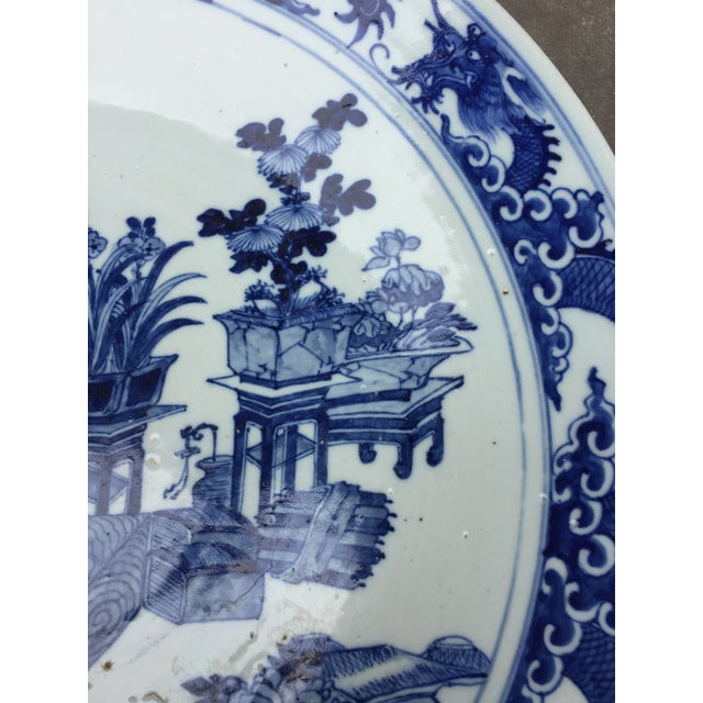 1970's Chinoiserie Blue China Platter Charger For Sale - Image 4 of 7