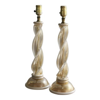 Murano Glass Twist Table Lamps Attributed to Barovier & Toso - a Pair For Sale