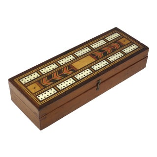 19th Century Victorian Inlay Mahogany Cribbage Board Game Box For Sale