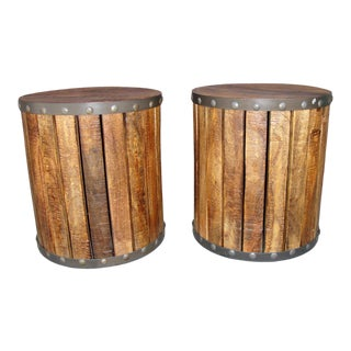 Rustic Wooden Side Tables - A Pair For Sale