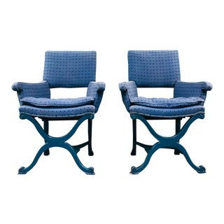 1950s Vintage Dorothy Draper Upholstered Campaign Chairs - a Pair For Sale