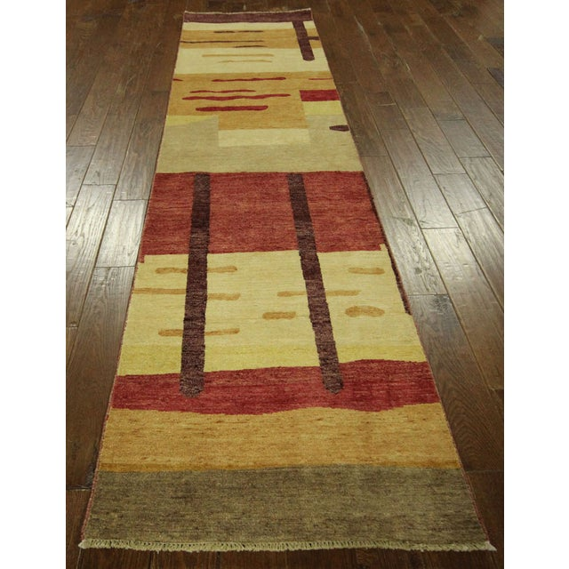 "Abstract Modern Runner Gabbeh Rug - 2'6"" x 10'1"" - Image 3 of 9"
