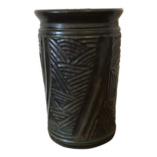 Mid 20th Century Boho Chic Black Green Incised Studio Art Pottery Vase