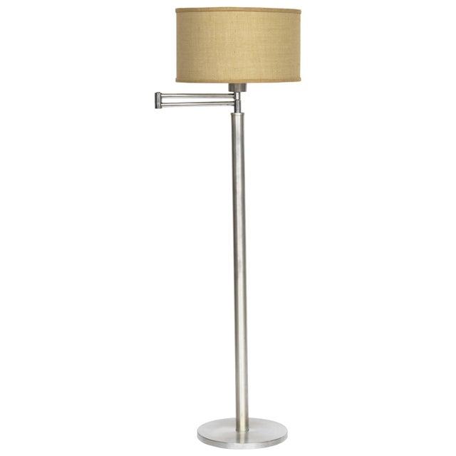 Walter Von Nessen Style Brushed Aluminium Swing Arm Floor Lamp For Sale - Image 9 of 9