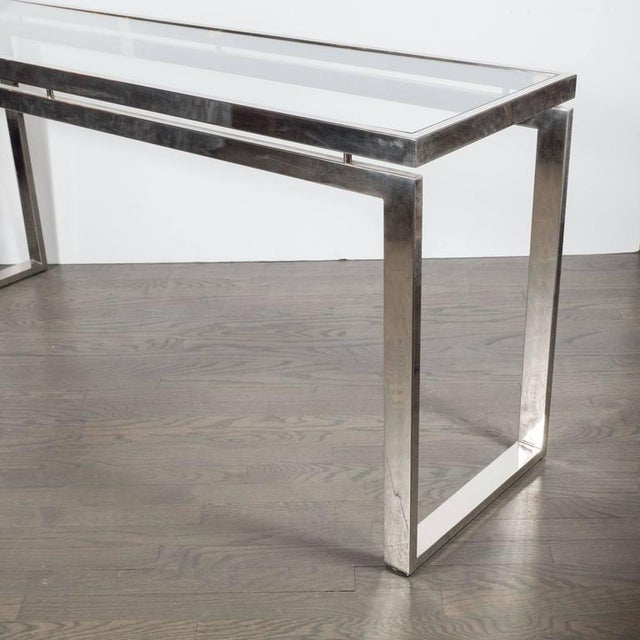 Mid-Century Modern Mid-Century Modernist Chrome and Glass Console or Sofa Table by Milo Baughman For Sale - Image 3 of 7