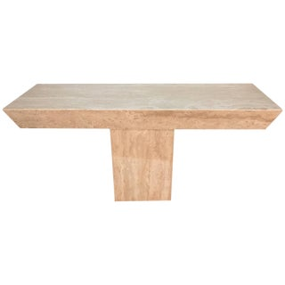 Italian Modern Monolith Travertine Console For Sale