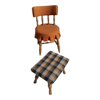 Retro Orange Vanity Stool Set For Sale