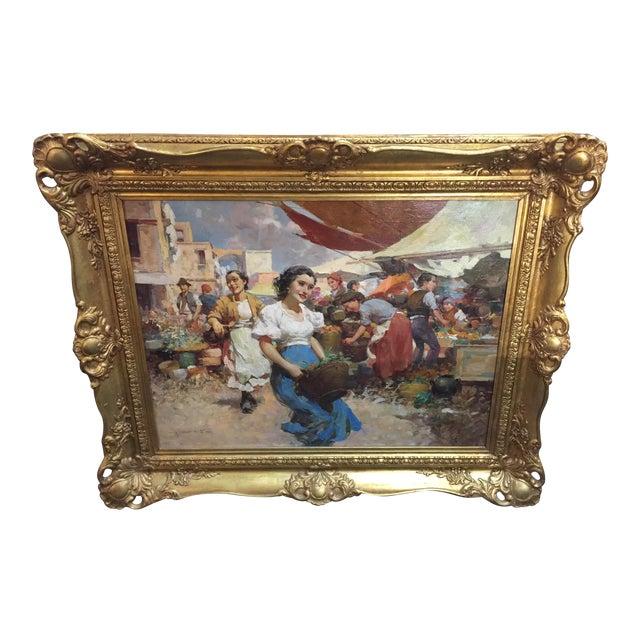 Witman Etelka Vizkeleti Oil Painting Market Scene For Sale