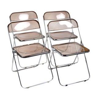 Vintage Mid-Century Plia Castelli Italian Mid-Century Modern Lucite Folding Chairs - Set of 4 For Sale
