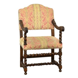 1910s Vintage William and Mary Style Walnut Frame Upholstered Armchair For Sale