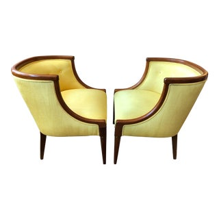 Mid-Century Club Chairs in Yellow Moire Upholstery