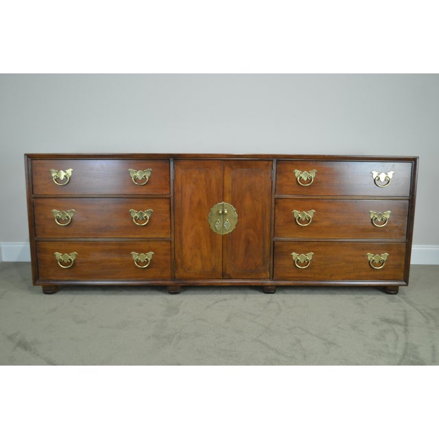 "Mahogany Henredon Folio Eleven 80"" Long Mahogany Asian Inspired Dresser W/ Butterfly Hardware For Sale - Image 7 of 13"
