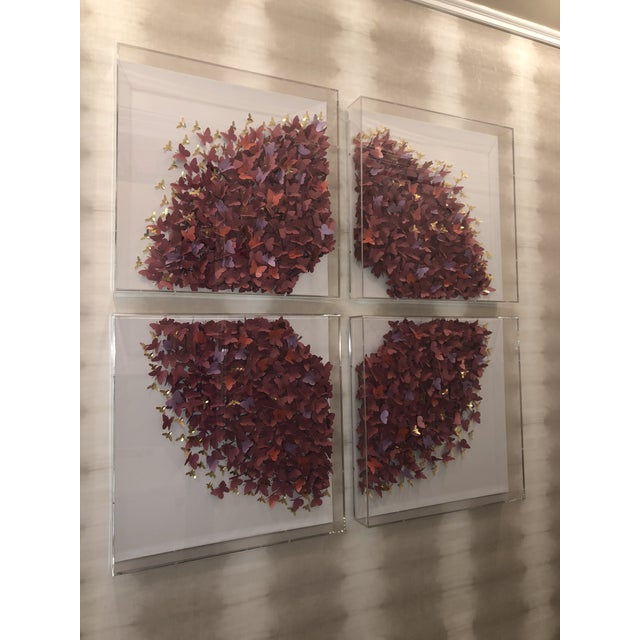 This stunning acrylic-framed 4 panel butterfly collage in pink/maroon by Jen Lin is the perfect statement piece to...