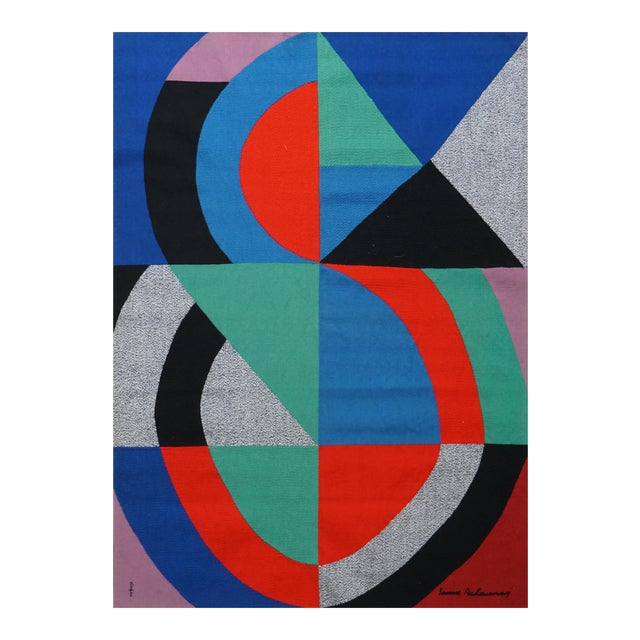 """Hand-Signed Modern Tapestry by Sonia Delaunay - """"Grande Icône"""" For Sale"""