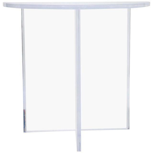 lucite sofa table narrow charles hollis jones style demilune clear lucite console table