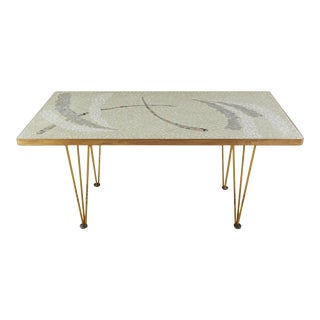 Mid Century Neutral Mosaic Tile Top Coffee Table For Sale