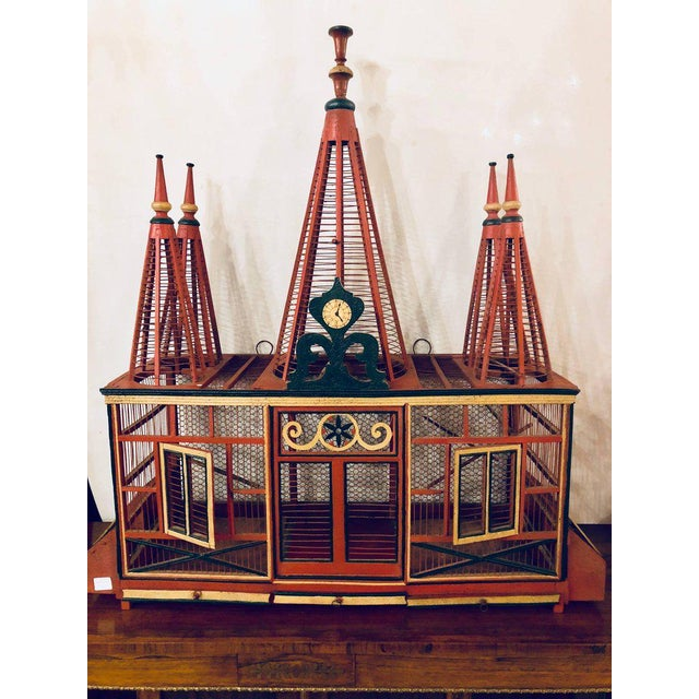 Americana Folk Art Circus Tent Style Original Painted Bird Cage For Sale - Image 11 of 13
