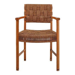 Beech and Woven Seagrass Armchair, Denmark, 1940s For Sale