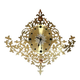 Filigree Mid Century Clock For Sale