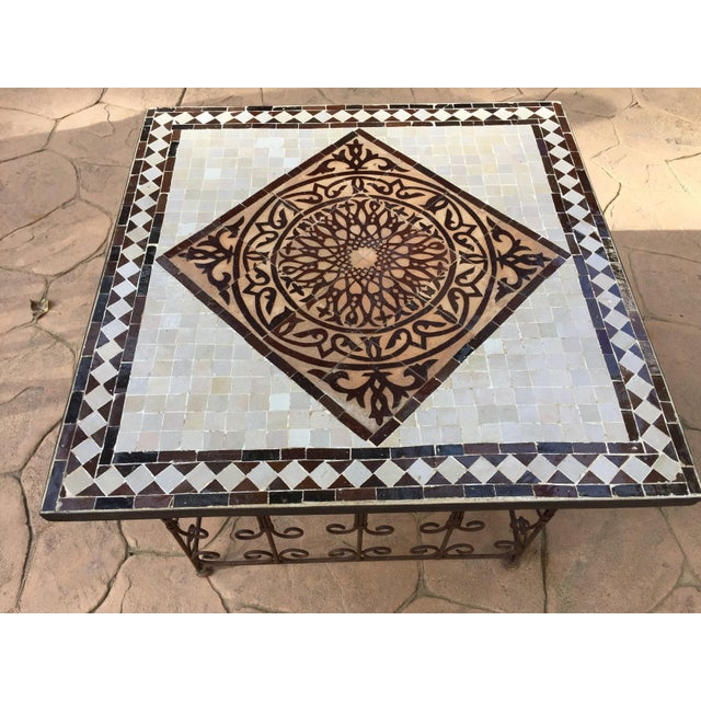 Islamic Moroccan Square Brown and Grey Mosaic Tile Coffee Table on Iron Base For Sale - Image 3 of 12