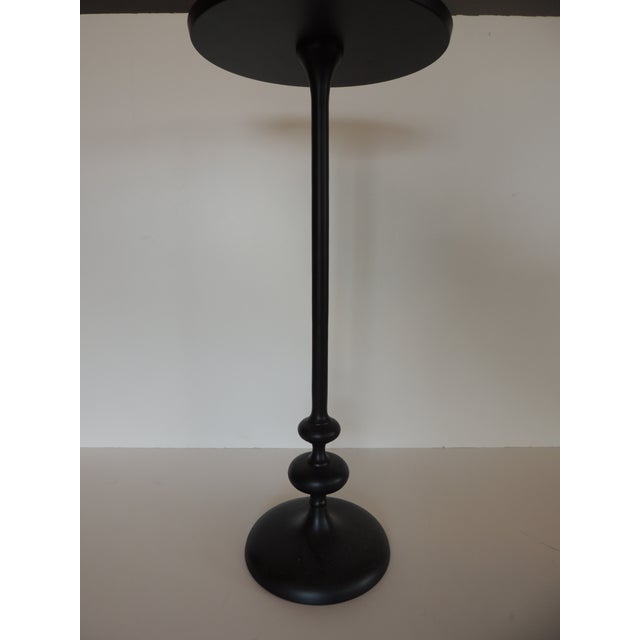 Small Round Black Metal Drinks Table With Round Base For Sale In Miami - Image 6 of 7