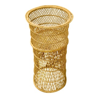 Vintage Mid Century Bamboo Natural Woven Wicker Basket Boho Planter For Sale