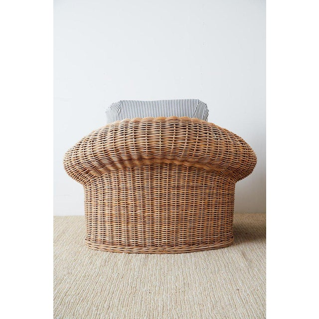 Wicker Michael Taylor Style Wicker Lounge Chairs With Ottoman For Sale - Image 7 of 13